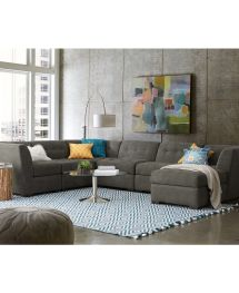 Roxanne Fabric 6-piece Modular Sectional Sofa With Ottoman