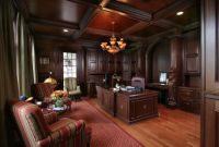 formal office with dark wood paneling and ceiling | Homes ...