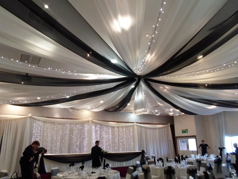 wedding black and white ceiling draping