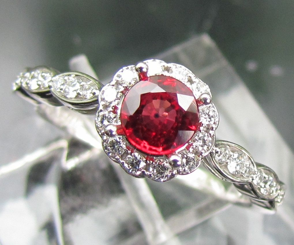 Ruby Engagement Ring In 14k Gold and Diamond Halo Setting