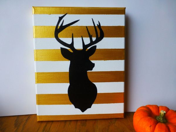 Deer Head Wall Art - Canvas Decor Painting Black And Gold Home