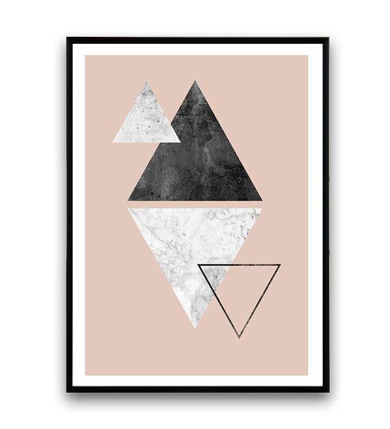 Dreieck print Marmor print pink Wandkunst von Wallzilla auf Etsy  Bilder  Pinterest  Dreieck