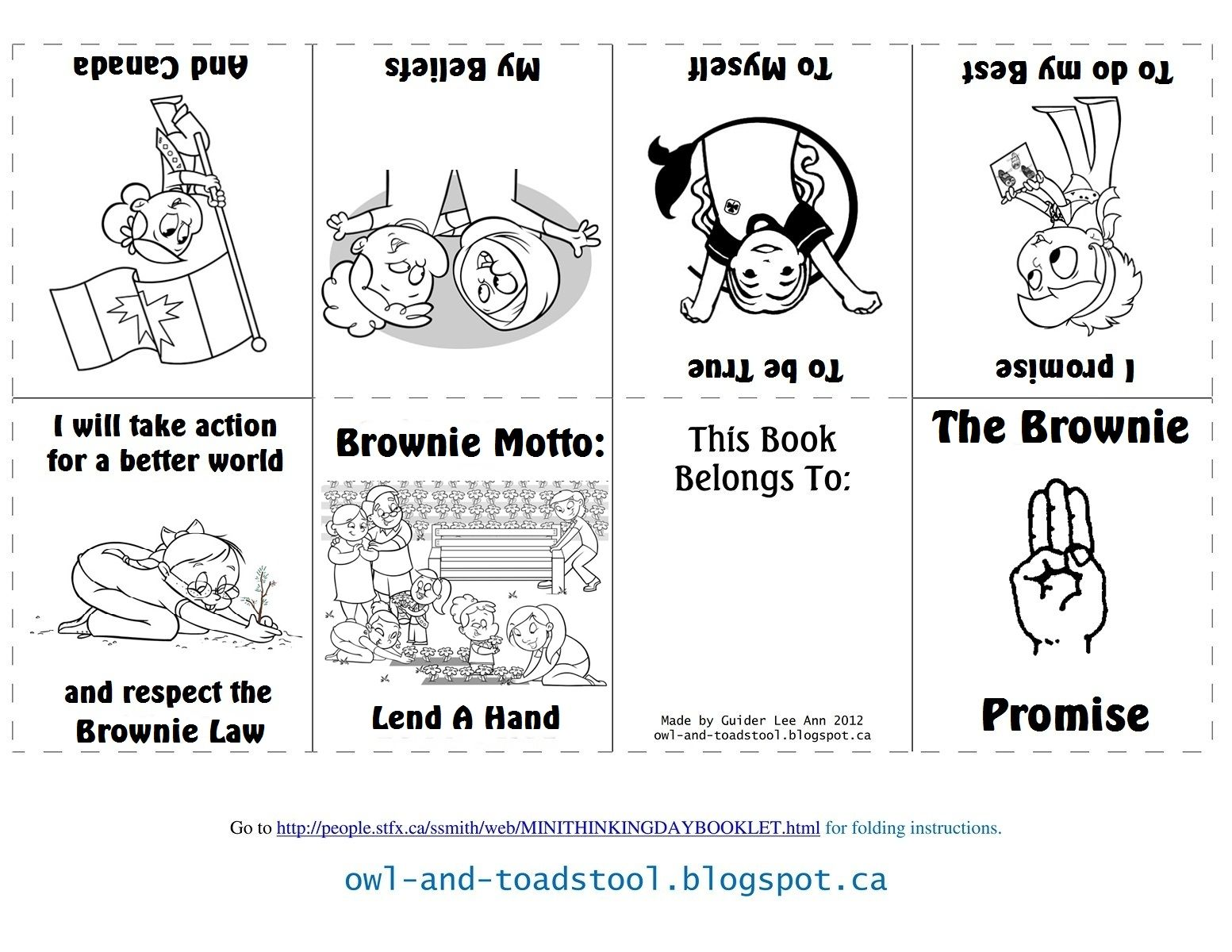 Canadian Brownie Promise Mini Colouring Book Owl And