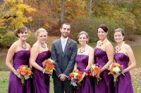groom and bridesmaids, purple bridesmaids dresses, fall ...