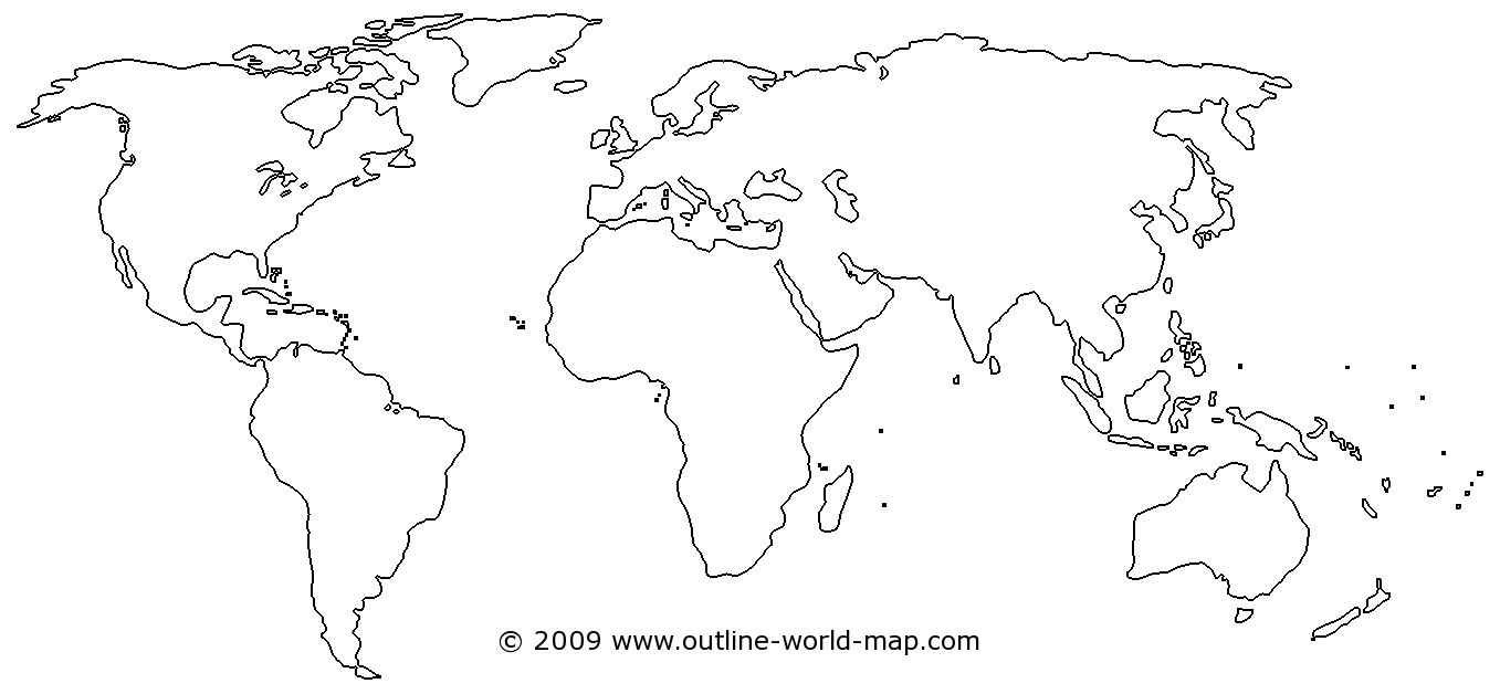 Outline blank world map with medium borders, transparent