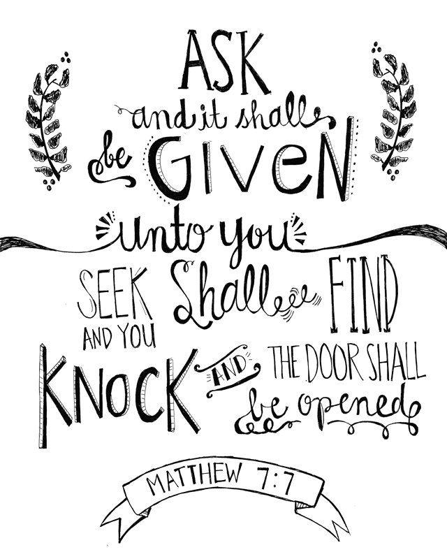 Matthew 7:7 Bible verse chalkboard 8x10 print hand drawn