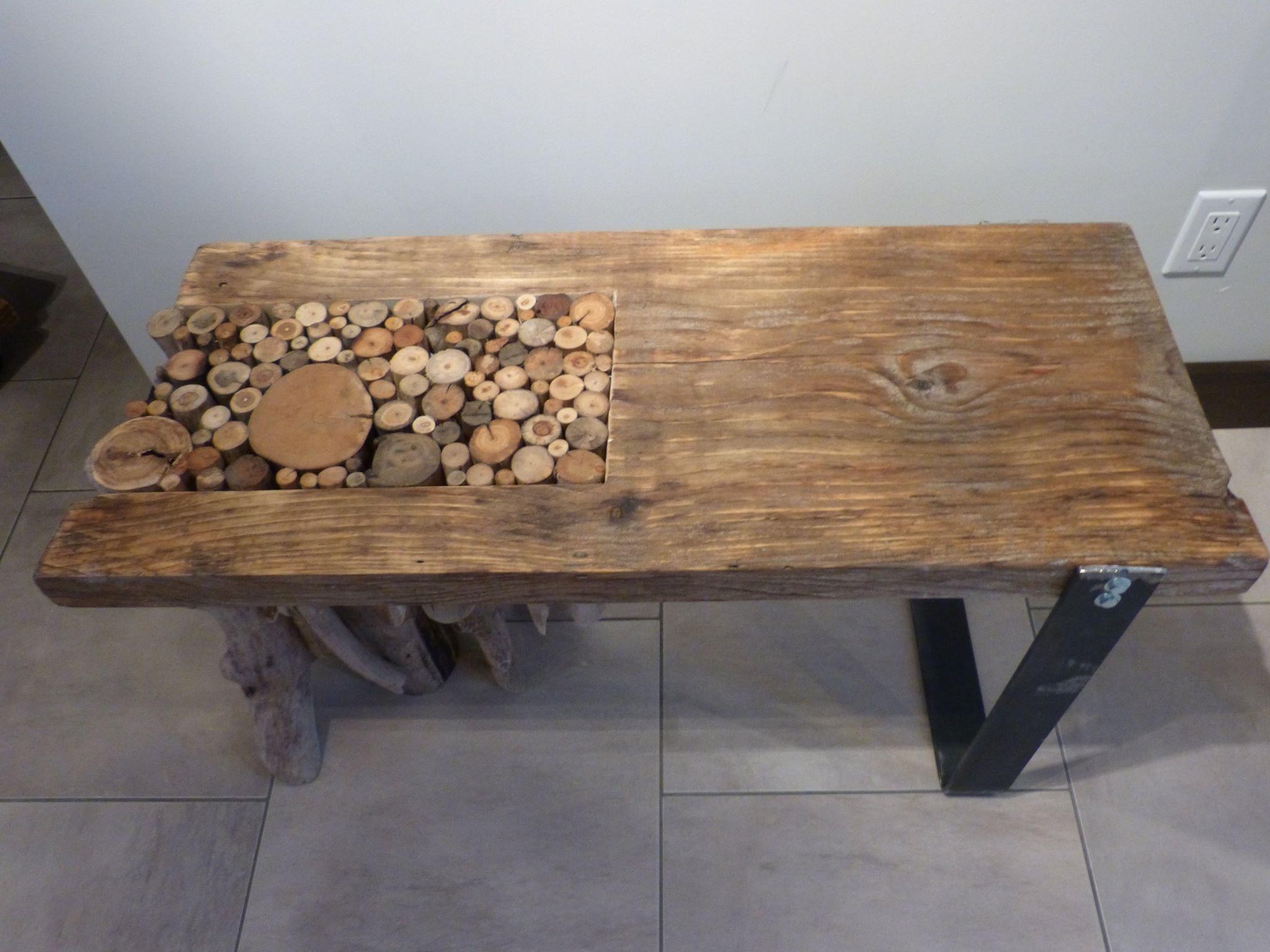Table de salon avec rondin de bois flott patte en acier 36 12 po de long par 15 po de large