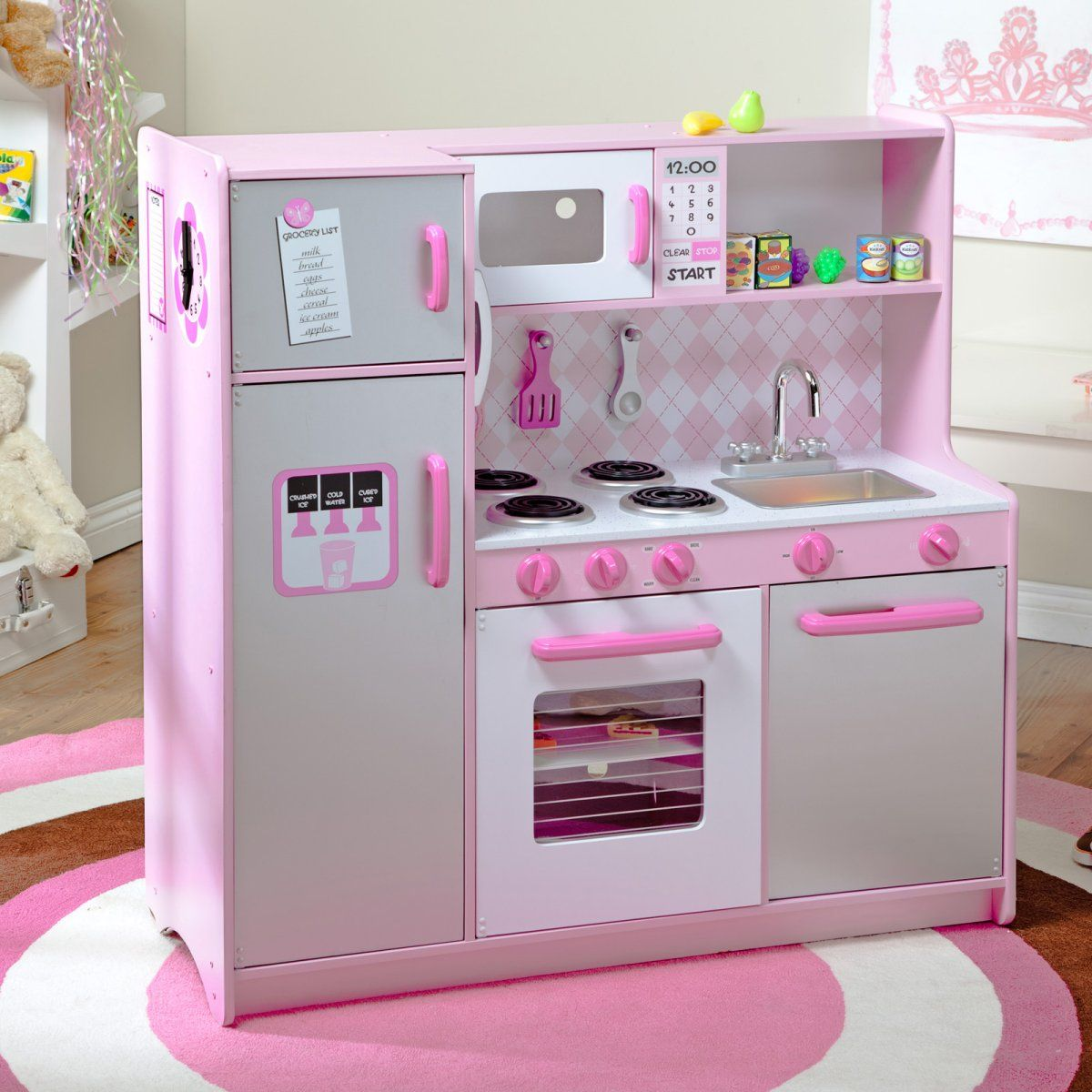 kitchen set for girl how to add a pantry your kidkraft argyle play with 60 pc food