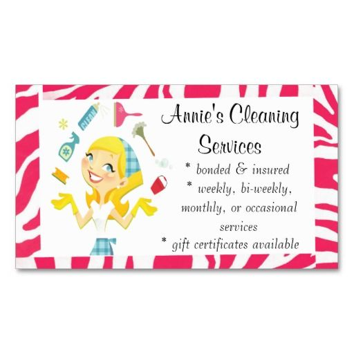 Cleaning Services Maid Business Card Colour House Cleaning