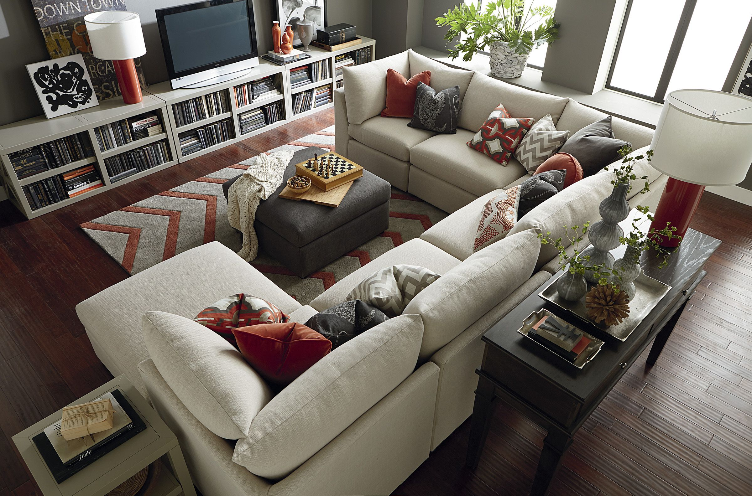 big sofas in small rooms great deals on sectional beckham u shaped by bassett furniture customize