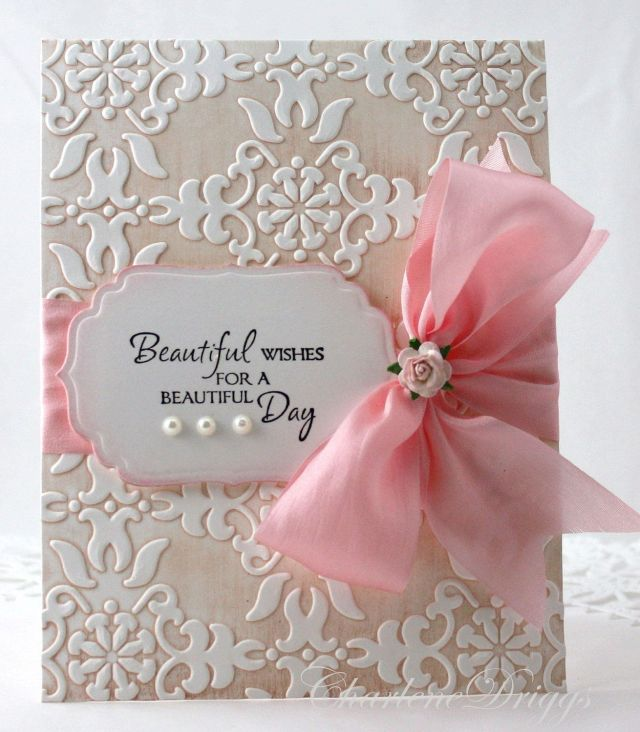 Embossed handmade wedding mothers day birthday card 4