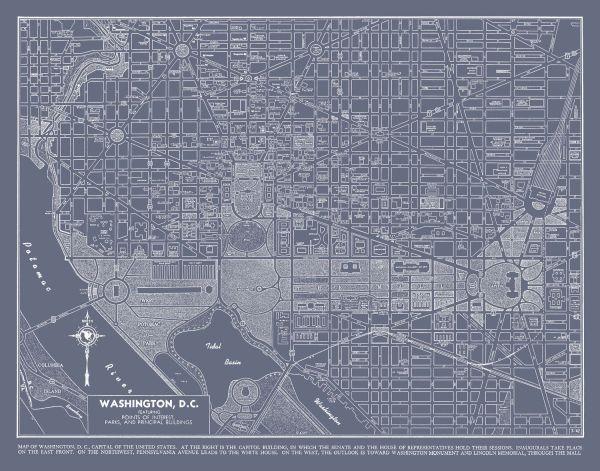 Washington Dc Street Map Vintage Gray Print Poster
