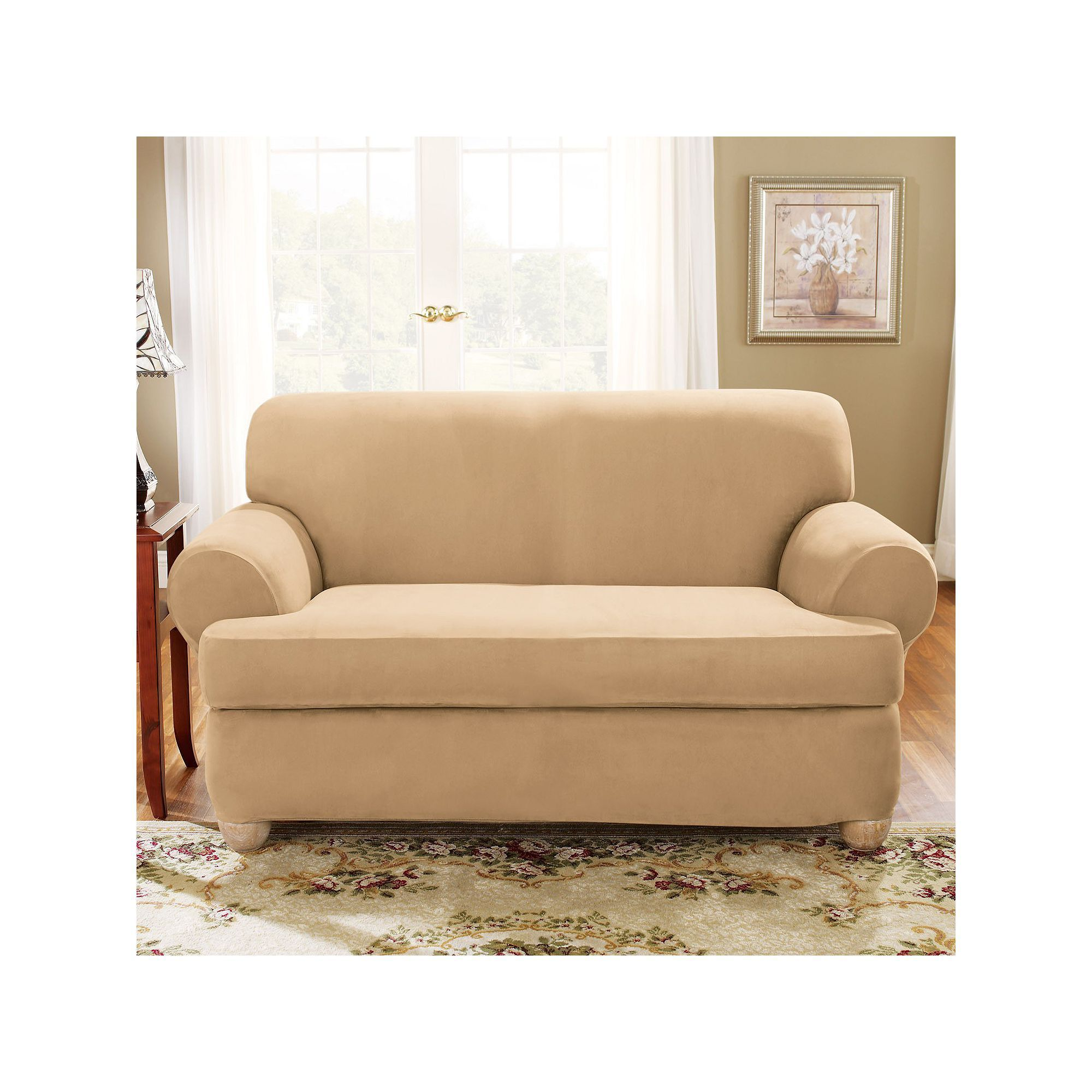 khaki sofa slipcovers bloomingdales elite leather sure fit stretch suede slipcover huge deal on