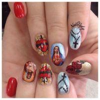 Nail art, nail design, catholic, rosary, Jesus, hand drawn ...