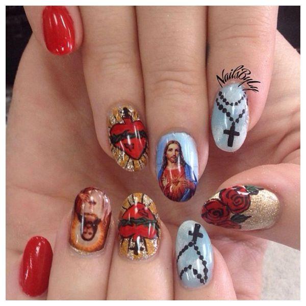 Jesus Acrylic Nails