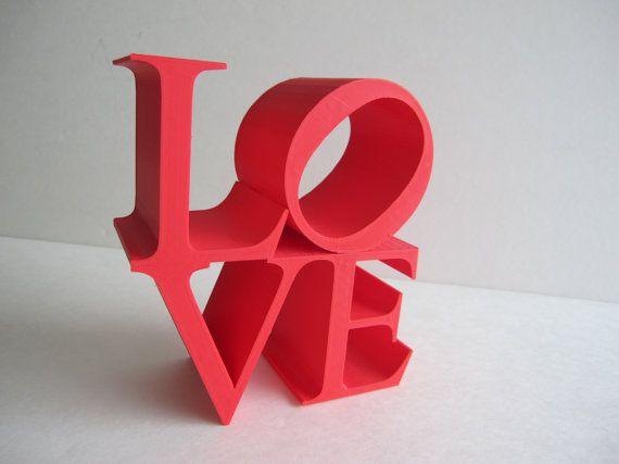 3D Printed Home Decor LOVE Block Sculpture Pop Art Iconography