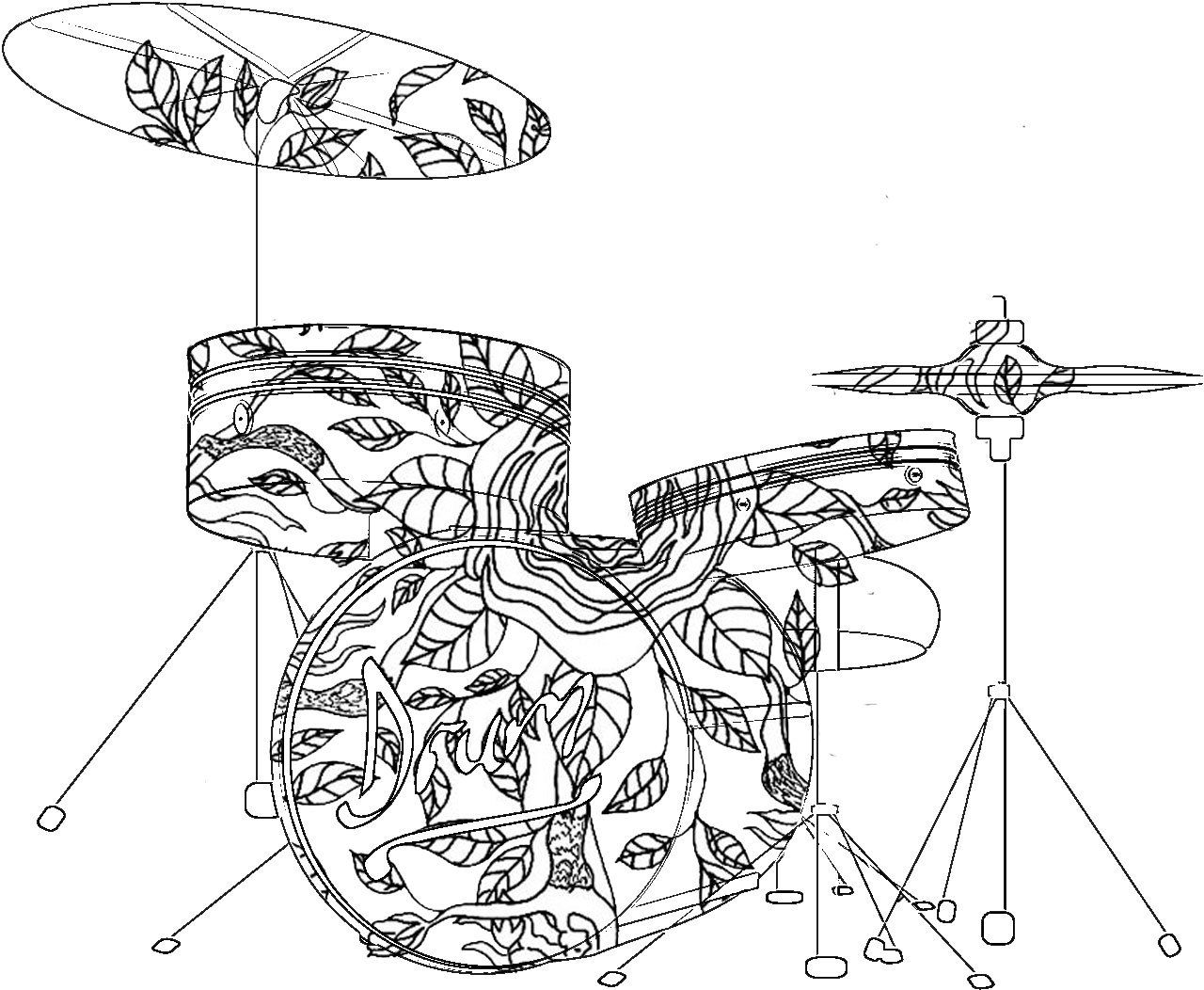 Adult Coloring Pages: DrumsADULT COLORING BOOK