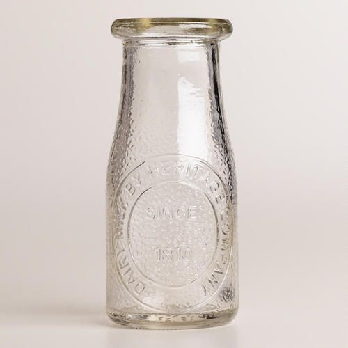 Embossed Glass Heritage Milk Bottles Set Of 4 Contemporary Dining Table And Milk Bottles