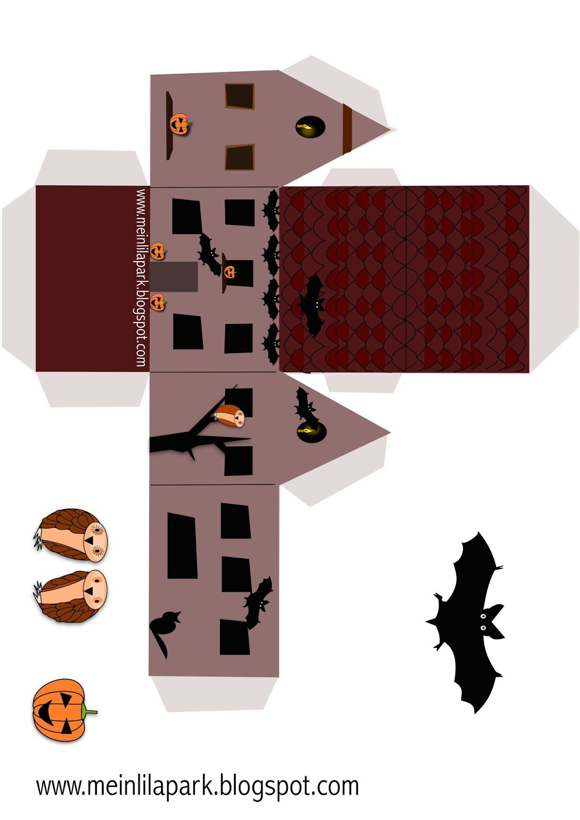 Meinlilapark Diy Printables And Downloads Spooky Haunted House Lantern Treat Box Favour Free