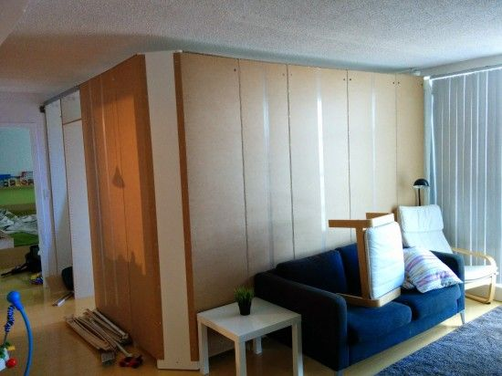 A temporary  removable wall creates an extra bedroom from ikea Pax wardrobes  home  Pinterest