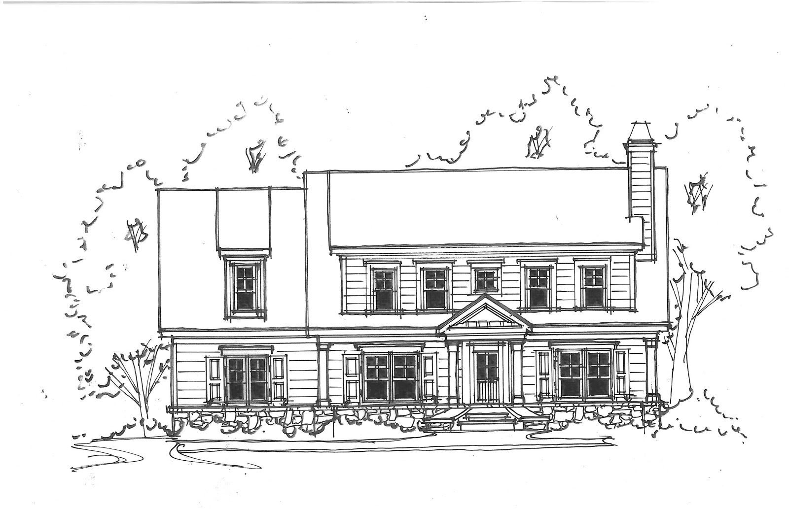 Front Elevation Of House Sketch