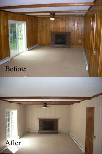 Before and after: Old wall paneling primed and painted