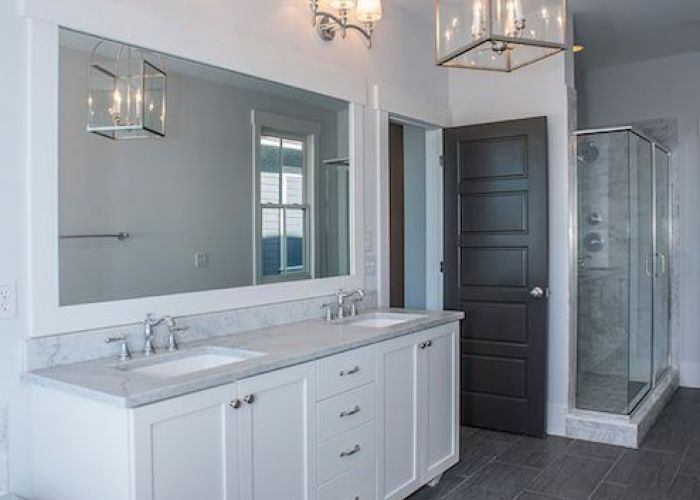 White bathroom ideas polished nickel fixtures grey marble bath surround and countertops floor tiles bathroomgrey tile showerdark also
