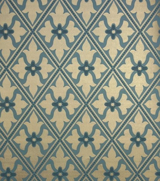 Bayham Abbey Wallpaper Gold and teal blue wallpaper with