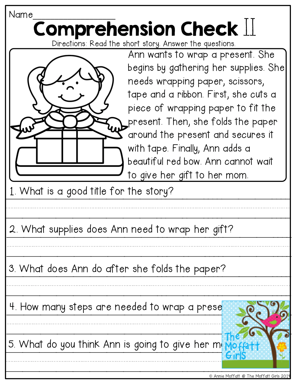 1st Grade Reading Comp Worksheet
