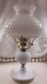 Large Fenton Hobnail Milk Glass Lamp 1950's 1960's by ...