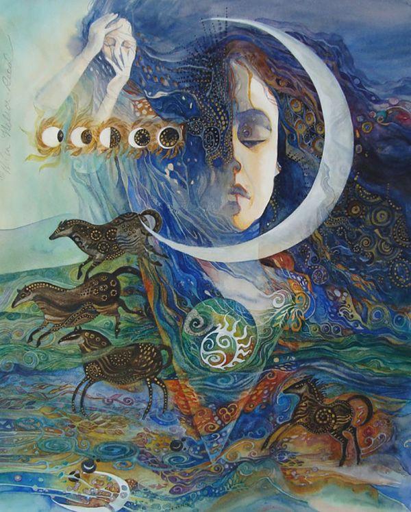 """epona Goddess Of Horse"" Par Helena Nelson-reed Moon Sun & Stars"