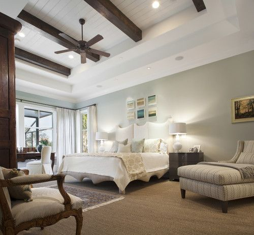 wall color, coffered ceiling with planks and beams, Amanda