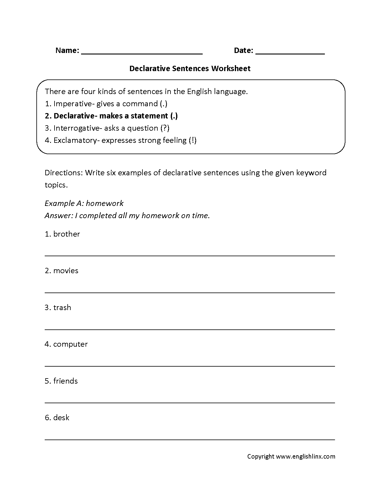 4th Grade English Worksheets Sentences Furthermore Simple