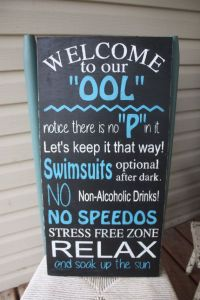 Pool Sign,swimming pool rules, Wood sign, Hand Painted ...