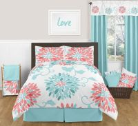 Emma Turquoise and Coral Bedding Set Full / Queen 3pc ...
