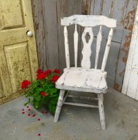 Gray Accent Chair, Vintage Wood Chair, Country Chic ...