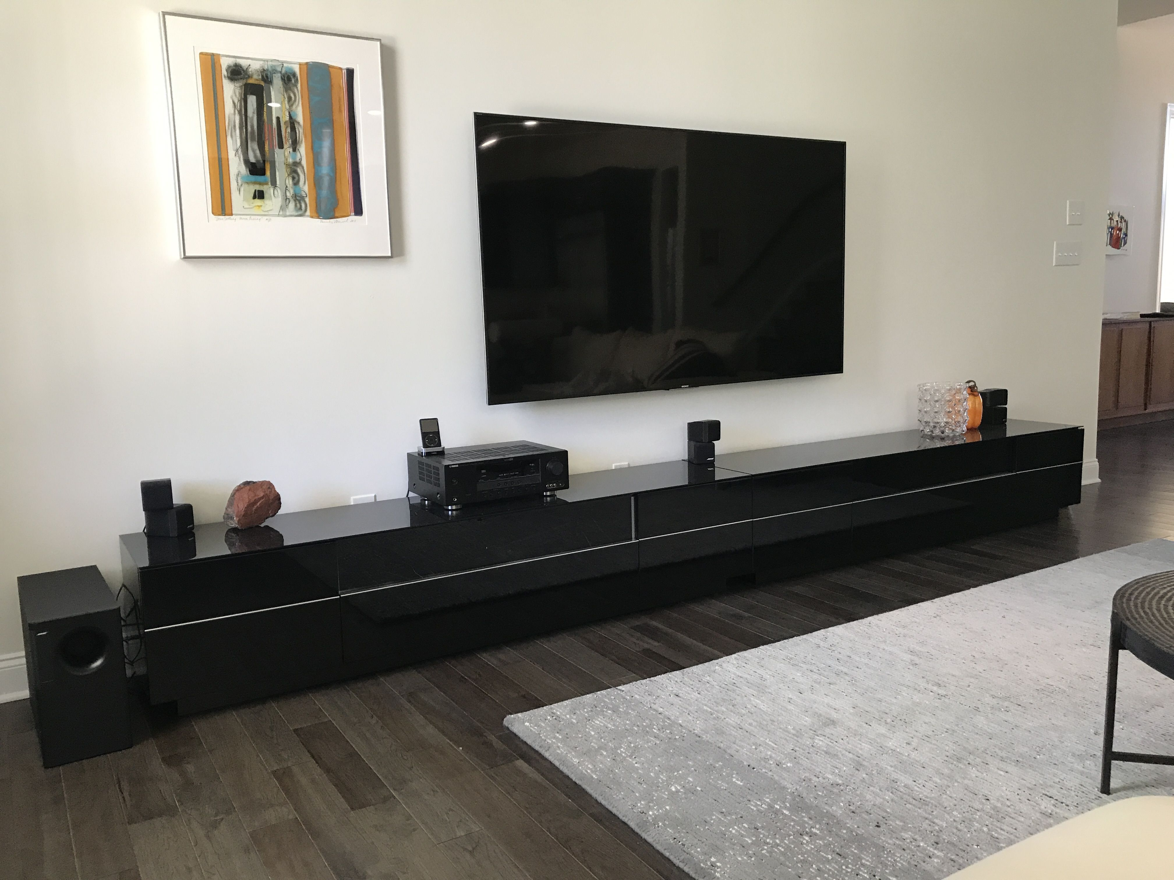 Long And Low Media Console. Black, Modern, Black Glass On