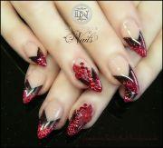 red glitter stiletto nails nail