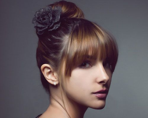 Hairstyles With Buns And Bangs Google Search Hair Styles I