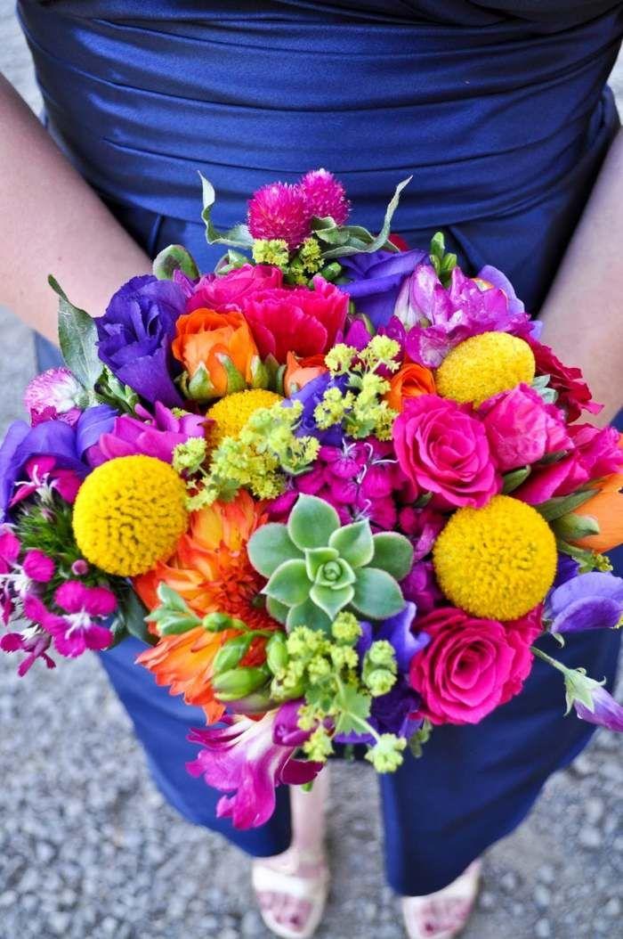 brautstrau bunt hochzeit pink lila gelb orange