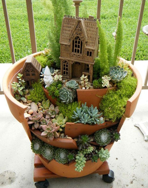 Cool Planting Idea For Broken Pots Landscaping Today Christine