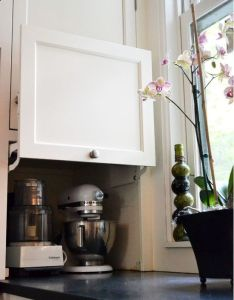really like the idea of storage space to hide small kitchen appliances and keep counter clear would utilize this in my future home also love for corner toaster centre rh pinterest