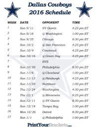 Printable Dallas Cowboys Schedule - 2016 Football Season ...