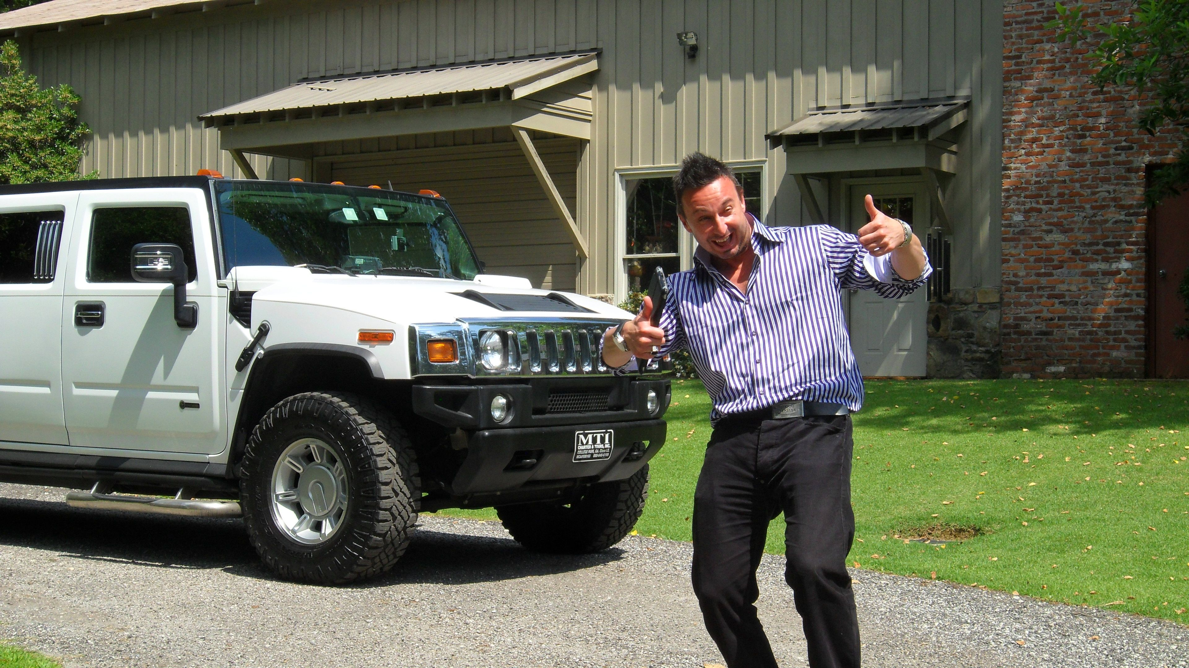 Simon Stepsys checking out the stretch limo at Tom s place