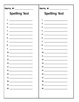 This is a spelling test template to use when giving a