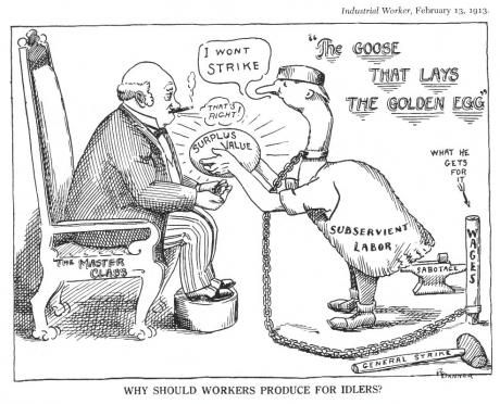 Industrial Worker cartoon, 1913. After a long struggle