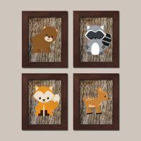 WOODLAND Nursery Art Animals Rustic Country Baby Boy Decor ...