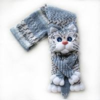 Knitted cat scarf,Knitted scarf,Animal scarf,Cat scarf ...