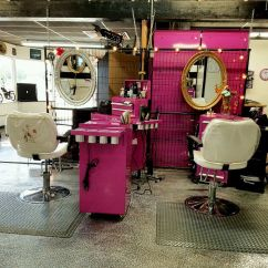 Pink Salon Styling Chair Swing Online Garage Pinup Retro Fence Gate Partition Wall Room