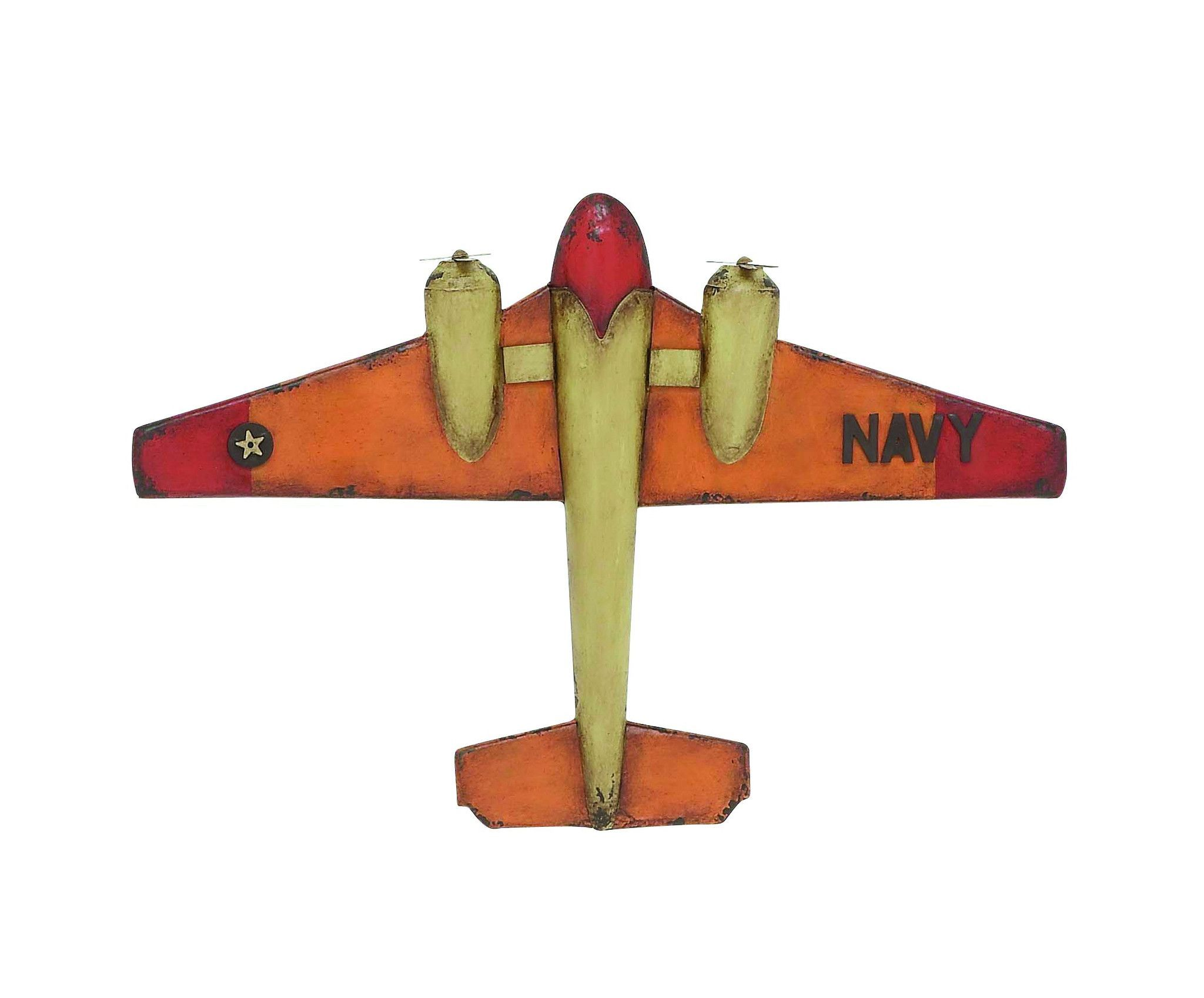Woodland imports decorative metal antique fighter airplane airplanethis classy navy plane is perfect to also products rh pinterest